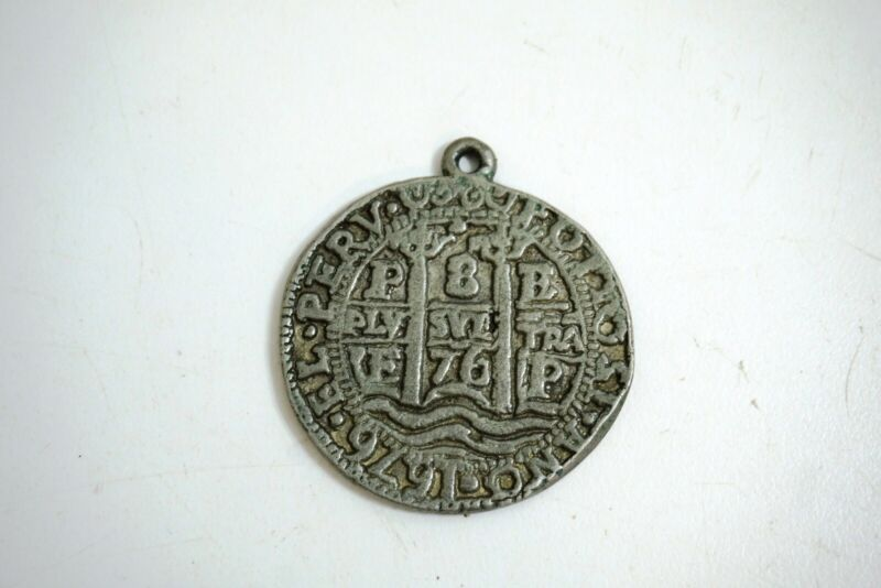 VINTAGE SPANISH SILVER OR COLONIAL REPRODUCTION LARGE SIZED 1676 DATED COIN WITH