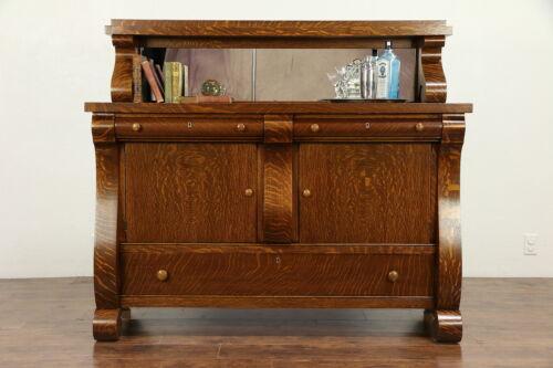 Empire Oak Antique 1917 Sideboard Server or Buffet, Gallery & Mirror #30586