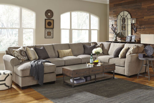 Modern Large Sectional Living Room Set Gray Fabric 4pcs Sofa Couch Chaise Ig3b