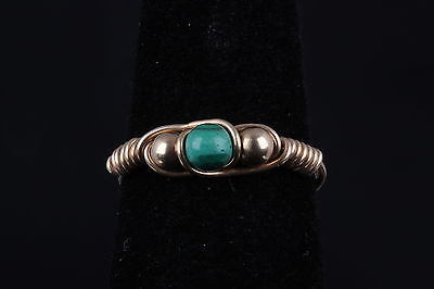 GOLD PLATED FASHION RING W/ GREEN CABOCHON STONE WIRE & BEAD DESIGN SIZE 4  8421 Ring Gold Plated Wire Design