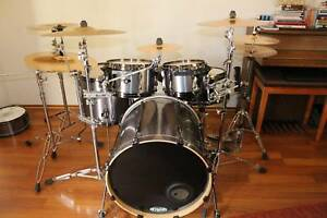 TAMA Hyperdrive drum kit, TRUTH custom snare, cymbals