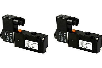 2x 110v Ac Solenoid Air Pneumatic Control Valve 3 Port 3 Way 2 Position 14 Npt
