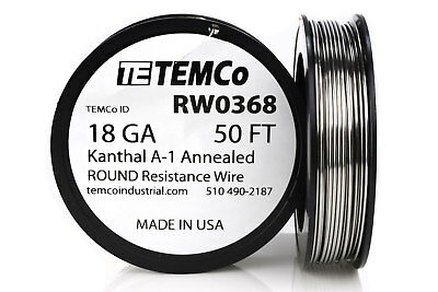 Temco Kanthal A1 Wire 18 Gauge 50 Ft Resistance Awg A-1 Ga