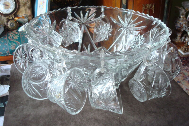 Early American Prescut pattern, vintage pressed glass punch bowl & cups set ORIG