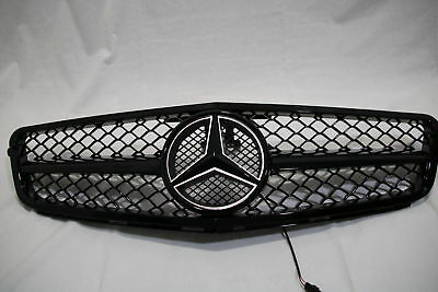 BLACK For Mercedes-Benz C Class W204 Front Grill W/ LED Emblem C300 C350 2008-14