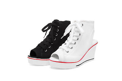Damen Sneakers Keilabsatz Wedges Stoffschuhe Canvas Chucks Peeptoes Sandalen Neu