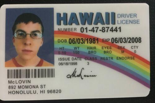 McLovin ID from Movie Superbad Fogels Fake Joke High Definition Printing Quality