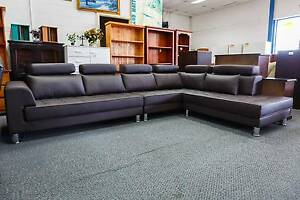 New 6 Seater Corner + Chaise Chocolate Vinyl Lounge Set WAS $2200 Punchbowl Canterbury Area Preview