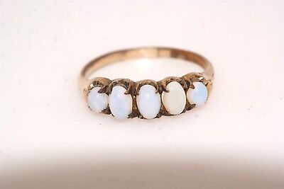 Antique Opaline Glass Gold Filled Five Stone Ring