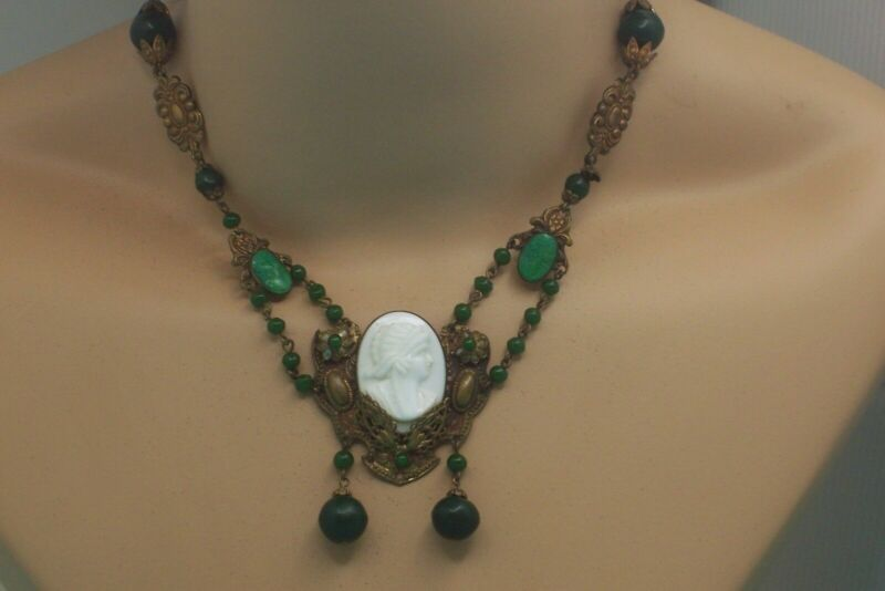 Victorian Pressed Metal Green & White Cameo Necklace With Dark Green Beads