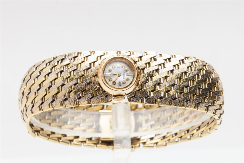 Vintage Retro $15k 14k Yellow White Gold Diamond Rolex Ladies Bracelet Watch 57g