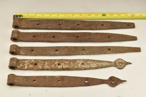 Lot of 5 Antique Handwrought Iron Barn Strap Hinges