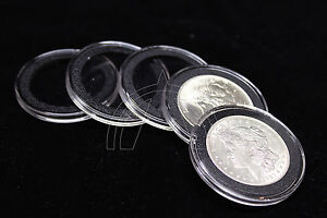 25 Airtite Coin Capsule Holders w BLACK Rings For Morgan, Peace & Ike Dollars