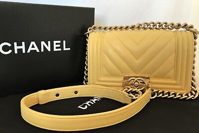 AUTH Chanel Boy Yellow Quilted Classic Chain Gold Bag Flap GHW Small CC Logo