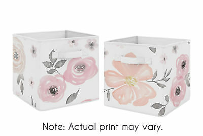 Pink Fabric Storage Bins (Pink Grey Watercolor Floral Foldable Fabric Storage Cube Bins Boxes - 2pc)