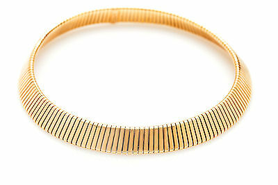 "$15,000 Signed BVLGARI Tubogas 18k Yellow Gold OMEGA Necklace 16"" 98g WIDE!!!"