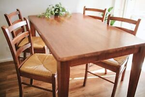 Seagrass Teak Dining Suite Wooden Chair Table Vintage Retro