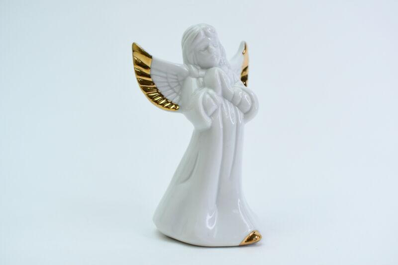 Vintage White Porcelain Praying Angel Bell W/Gold Trim Figurine Gift 3.5-Inch