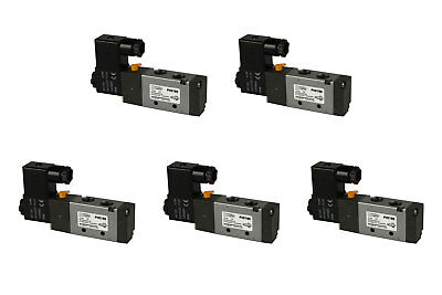 5x 12v Dc Solenoid Air Pneumatic Control Valve 5 Port 4 Way 2 Position 14 Npt