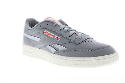 Reebok Club C Revenge MU Mens Gray Leather Low Top Lace Up Sneakers Shoes Men Gray Leather