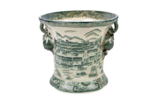 Oriental Dark Green and White Landscape Porcelain Pot
