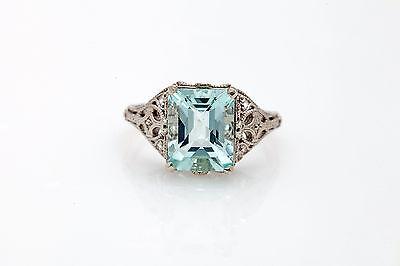 Estate 5ct Natural Emerald Cut Aquamarine 14k White Gold Filigree Ring