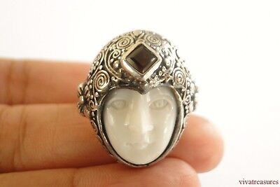 Goddess Garnet Ring - Bali Goddess Open Eyes Garnet 925 Sterling Silver Ring Size 7.5