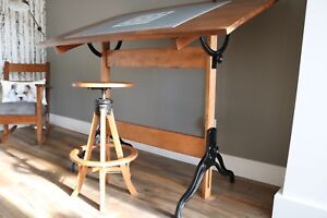 Antique drafting table and stool - professionally restored.