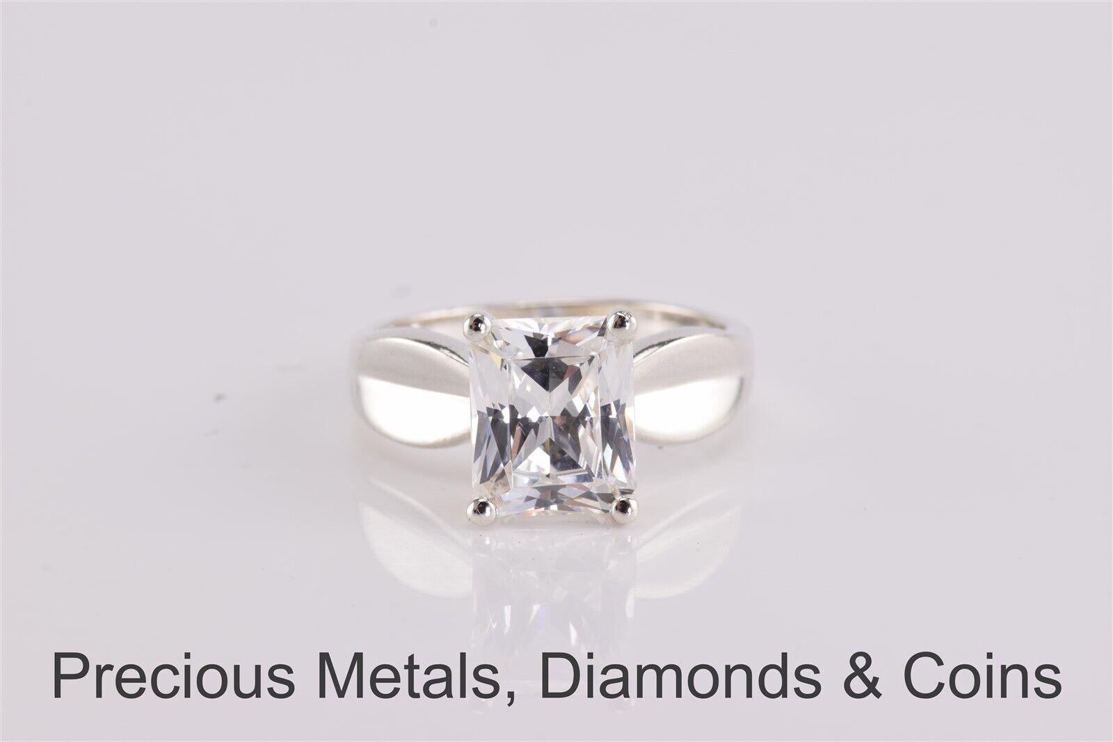 baf42f05827c1 Details about Diamonique Sterling Silver Emerald Cut Cubic Zirconia  Solitaire Ring 925 Sz: 10