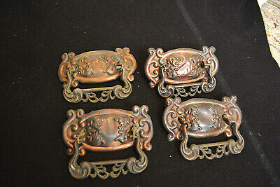 Stamped Brass Backplate (Set 4 Antique Copper Stamped Brass Dresser Drawer Pulls & Backplates C.)