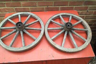 A pair of Vintage Wooden Cart Wheels 50cm