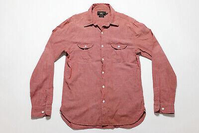 e84a87d1c0b RRL DOUBLE RL Ralph Lauren Chambray Red Button Down Work Shirt size Small S