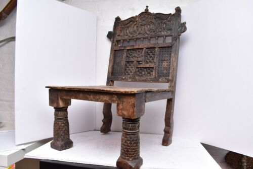 Antique Hand Carved Rajasthani Low Chair Hand carved wood india Pida Furniture