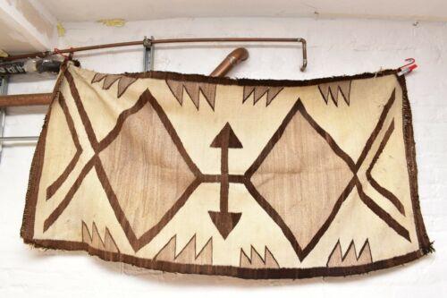 "VINTAGE Navajo Rug Native American Indian Weaving Textile 67""x34"" ANTIQUE LARGE"