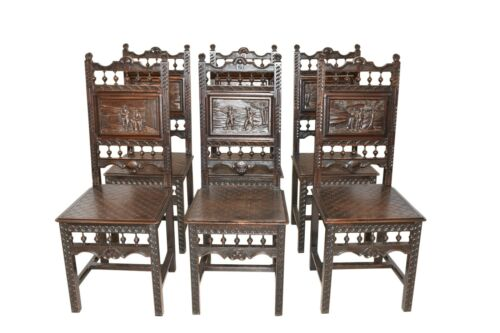 Nicely Carved Set of Six French Breton Dining Chairs, Oak, Turn of Century