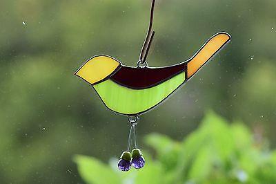 Tiffany Fensterbild bunter Vogel mit Baumelbeinchen Sonnenfänger Mitbringsel 2
