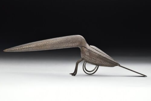 Rare India Bird Shaped Scissors Iron Inlaid with Silver 18th early 19th century