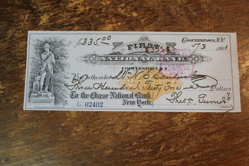 BANK CHECK FIRST NATIONAL BANK COOPERSTOWN NEW YORK 1901
