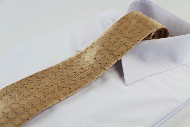 Mens Gold Elegant Stripes & Squares Patterned 8cm Neck Tie