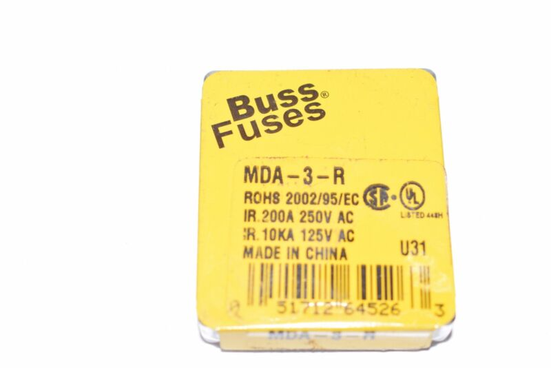 NEW BUSS FUSES MDA-3-R FUSES, PACK OF 5