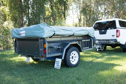 camper trailer and tent