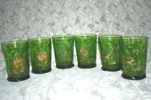 Vintage NORTHWOOD  Poppy Tumblers Emerald Green Gold Set of 6 Near MINT