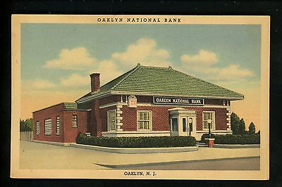 For sale New Jersey NJ postcard linen Oaklyn National Bank building Curt Teich