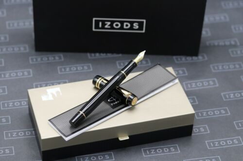 Parker Duofold International Black Gold Trim Fountain Pen - 2013