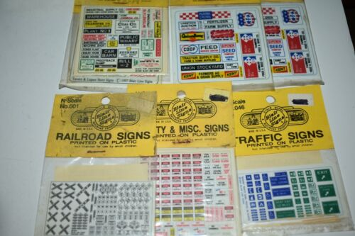N Scale Blair Line Lot of 7 Railroad, Traffic and Business Signs K13998