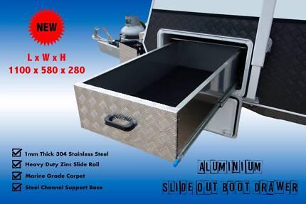 Aluminium Slide Out Boot Drawer Tool Box Caravan Trailer Ute