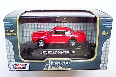 HO scale MOTORMAX 1970 Red Ford Maverick  :1/87 Model Car