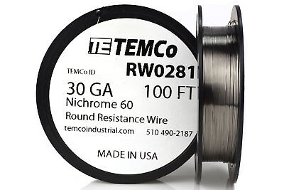 Temco Nichrome 60 Series Wire 30 Gauge 100 Ft Resistance Awg Ga