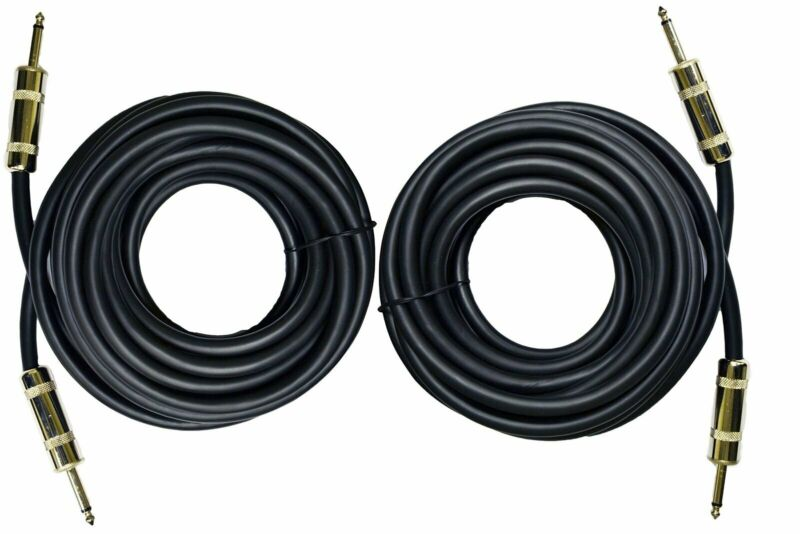 """2X 1/4"""" TO 1/4"""" 25 FT. TRUE 12 GAUGE WIRE AWG DJ/ PRO AUDIO SPEAKER CABLE"""