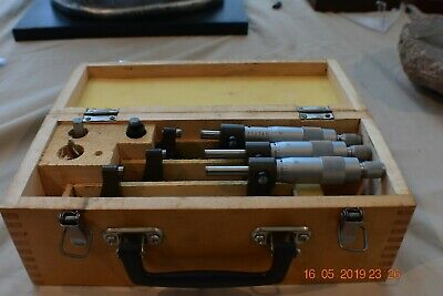 Enco 0-3 0.001 Outside Micrometer Set Wooden Case Standards Included